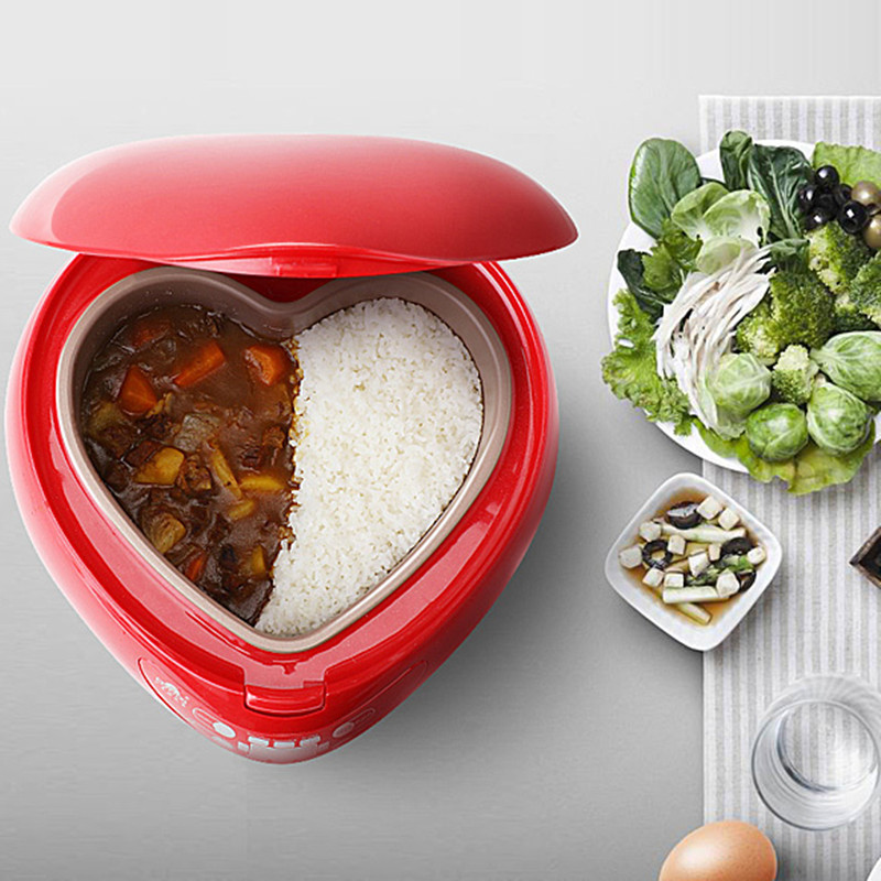 1.8L heart shaped rice cooker used in house with the function of Rice Cooking and Porridge Cooking and Making cake productivity of rice
