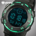 INFANTRY Men Digital Wristwatches LED Digital Military Army Stopwatch Stainless Steel Case Rubber Strap Sports Watches Relojes