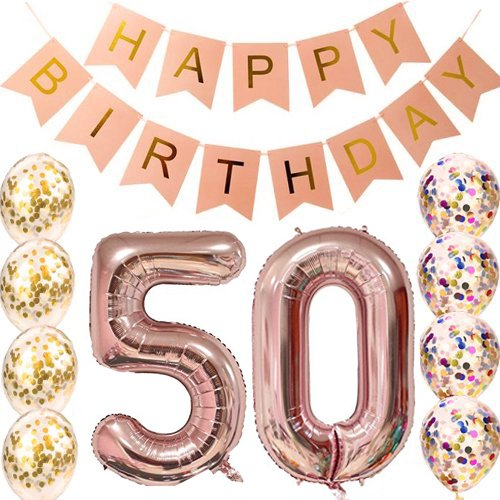 50th Birthday Decorations Party Supplies 30th Rose Gold Confetti Balloons Banner 70th Gifts For Adlut