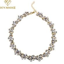 Новый дизайн горячей продажи очарование кристаллов биб choker ожерелье горный хрусталь gem цветок бар ожерелье себе ювелирные изделия для женщин n557