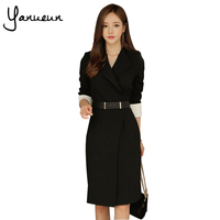 Yanueun Korean Fashion Black Casual Midi Dress Suit Office Lady Tie Waist Autumn Dress Blazer Elegant