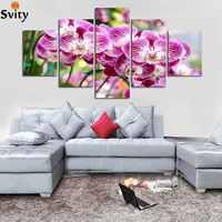 5 Piece Hot Modern Wall Painting Pink Orchid Flower On Canvas Painting For Living Room Wall