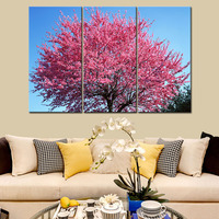 Pink Cherry Tree Modern Spray Canvas Prints Flower Artwork Pictures On Canvas Floral Giclee Print Wall