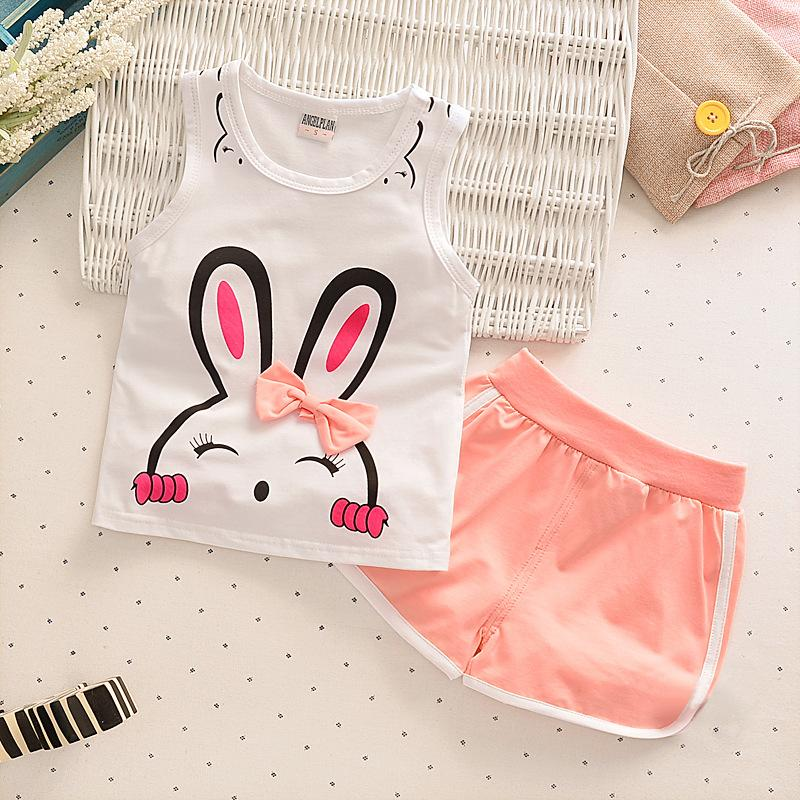 2018 New Summer Girls Clothes Cute Rabbit Vest Shorts 2pcs Cotton Children Clothing Set 1 2 3 4 Year Kids Suits for Girls
