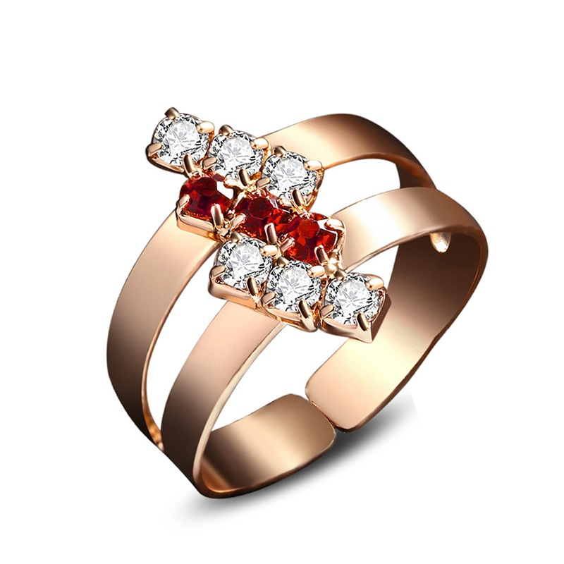OMHXZJ Wholesale Personality Fashion OL Woman Girl Party Wedding Gift Geometric AAA Zircon 18KT Shallow Gold Ring RN14 in Rings from Jewelry Accessories