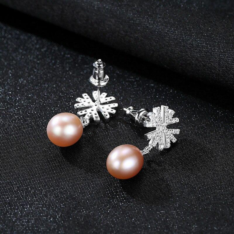 YUEYIN Silver 925 Earrings for Women Pearl Earrings Micro Pave Cubic Zircon Snow Dangle Earrings Wedding Jewelry 3 Colors in Earrings from Jewelry Accessories