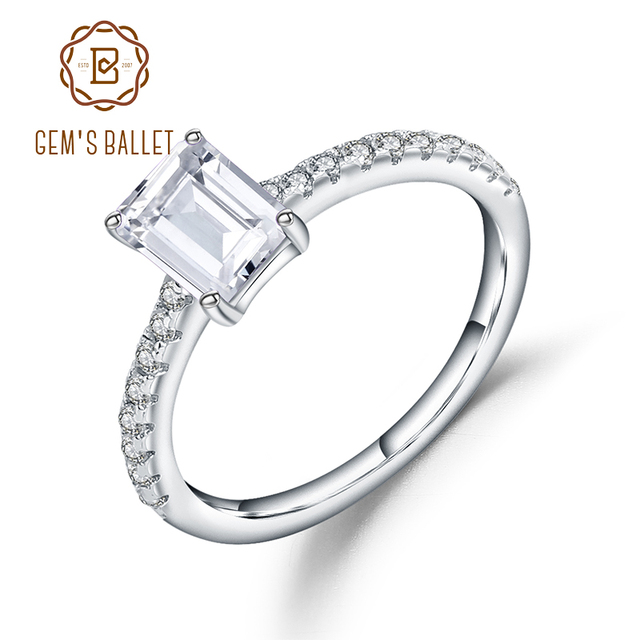 7533d974b Gem's Ballet 925 Sterling Silver White CZ Ring 1.28Ct Emerald Cut Cubic  Zirconia Wedding Engagement