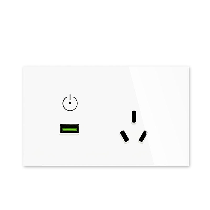 New AU/US standard USB Wall Power Socket, White Crystal Glass Panel, Touch Switch Socket with Outlet, 220V