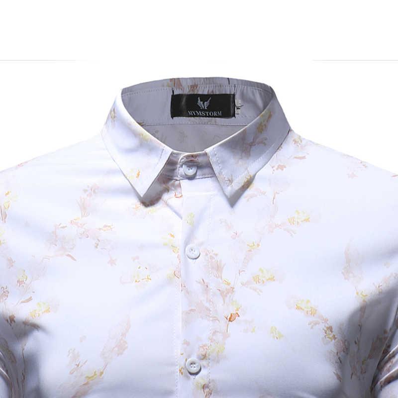 Мужская белая рубашка с цветочным принтом 2018, новая гавайская рубашка, мужская приталенная рубашка с длинным рукавом, мужская повседневная рубашка на пуговицах