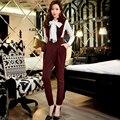 Originais Da Marca 2016 Outono Macacão Moda Vintage Cintura Alta Casual Elegante Sexy V Jumpsuits Colarinho Das Mulheres Por Atacado