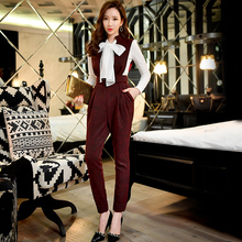 Original 2016 Brand Autumn Rompers Fashion Vintage High Waist Casual Elegant Sexy V Collar Jumpsuits Women Wholesale