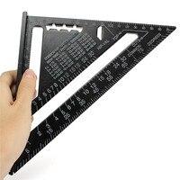 """7 """"schwarz Metric Triangle Quadrat Herrscher Aluminium Legierung Geschwindigkeit Platz Winkelmesser Gehrung Für Carpenter Messung Werkzeug-in Handwerkzeug-Sets aus Werkzeug bei"""