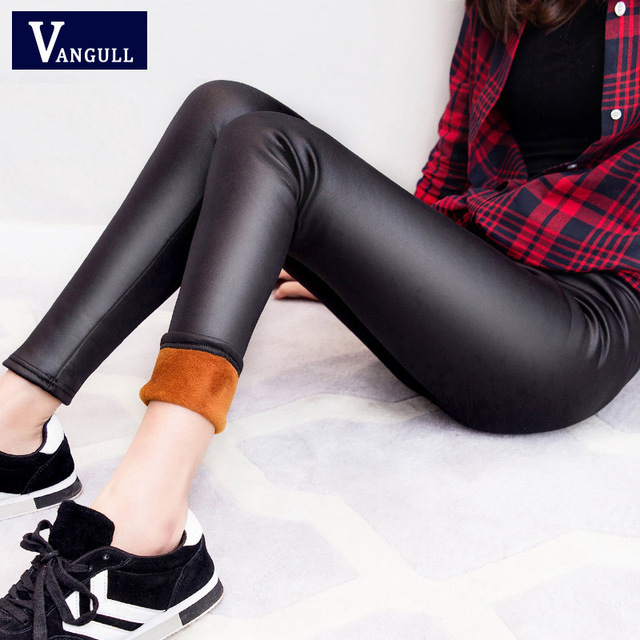 2017 New Winter Warm Pants Women PU Leather Thick Velvet Stretch Slim Pencil Pants High Quality Elasitc Trousers Plus Size 3XL
