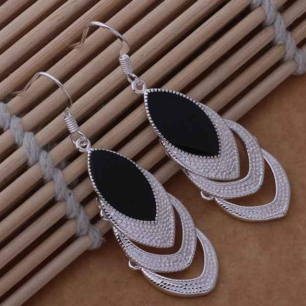 ชุบเงินต่างหู,เครื่องประดับแฟชั่นต่างหูเงินสามหัวใจตั้งด้วยหินสีดำ/ bwpaknwa djbamaia AE576