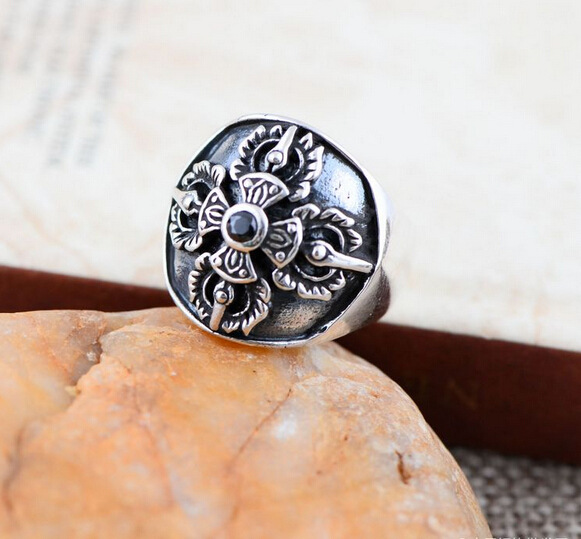 925 sterling silver jewelry inlaid Onyx Crusader flower fashion men's ring 042521w atmosphere