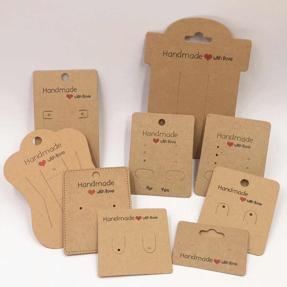 100pcs Kraft Handmade With Love Jewelry Cards,Necklace/Earring/Hairpin/Pendant Packing Cards,Love Jewelry Displays Cards