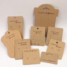 100pcs Kraft Handmade With Love Jewelry Cards,Necklace/Earring/Hairpin/Pendant Packing Cards,Love Jewelry Displays Cards(China)