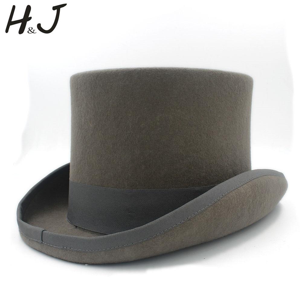 13,5 Cm (5,3 Zoll) 4 Größe Grau Wolle Frauen Männer Fedora Top Hut Für Zauberer Steampunk Party Hochzeit Hut