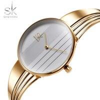 Shengke 2019 Mode Vrouwen Horloges Casual vergulde Vrouwen Horloges Charm Dames Horloge Armband Quartz Horloge Vrouwen-in Dameshorloges van Horloges op