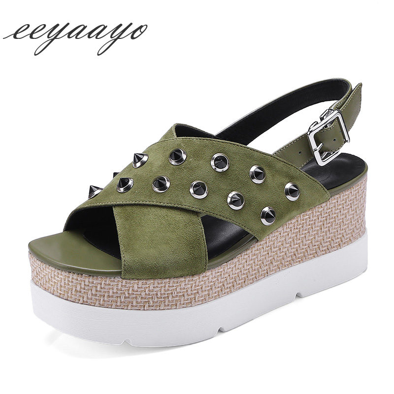 Genuine leather women sandals wedges heel platform sheepskin rivets buckle strap cool casual style light green black women shoes venchale 2018 summer new fashion sandals wedges platform women shoes height heel 10 cm buckle strap casual cow leather sandals