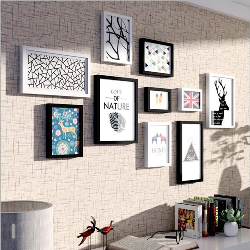 New Fashion 10 Boxes Jane Europe Style Decorative Woody Wall Photo Frames Picture Album White and