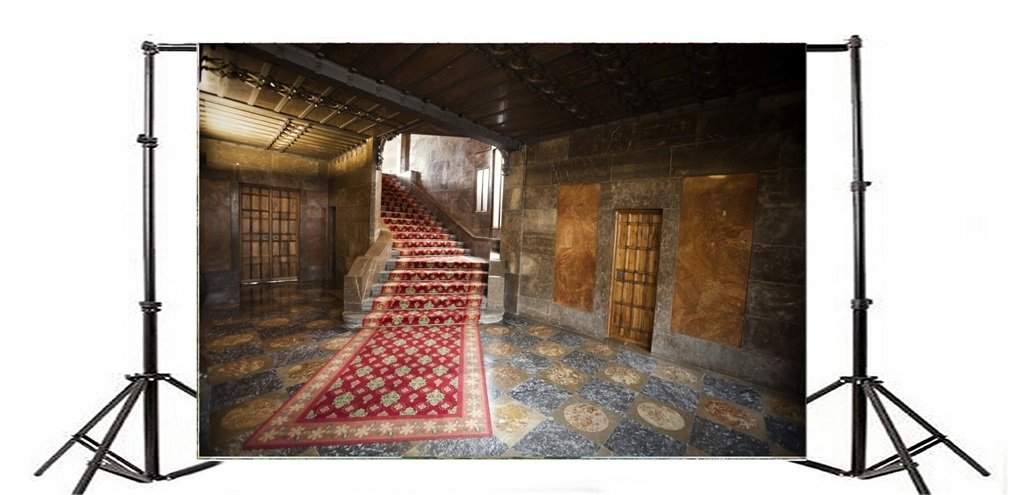 Photography Backdrop Church Stair Vintage Red Carpet Shabby Chic Room Retro Marble Floor Interior