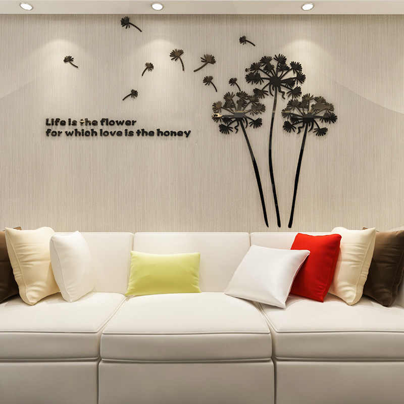 3D Dandelion Flower Acrylic Mirror Wall Stickers for Wedding Room Decor Art Wall Decals for Sitting Room Bedroom 2mm Thickness