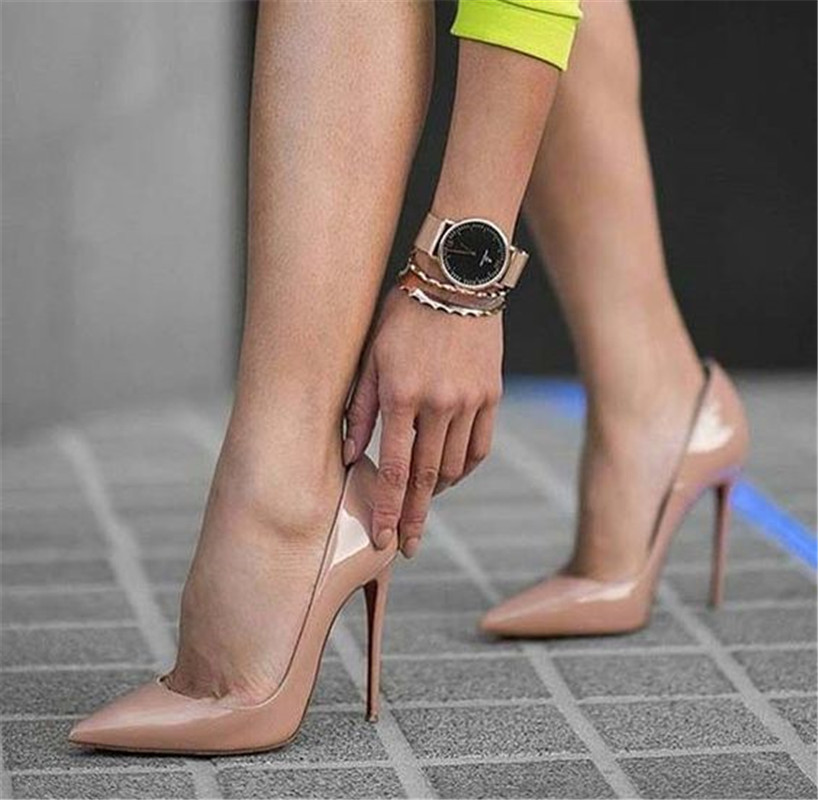 6779a6a1c OKHOTCN Sexy Rebites Brilhante/Couro Envernizado Salto Alto Nu dedo  Apontado Bombas de Sapatos de
