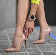 dc0036f55b1 OKHOTCN Sexy remaches brillantes charol tacones altos zapatos de tacón alto  de punta estrecha desnuda zapatos de fiesta zapatos .