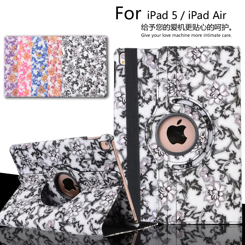 New 2017 Auto Sleep 360 degree Blue and white porcelain Rotating Cover Stand case For ipad 9.7 / Air / 5 Case cover + Gift
