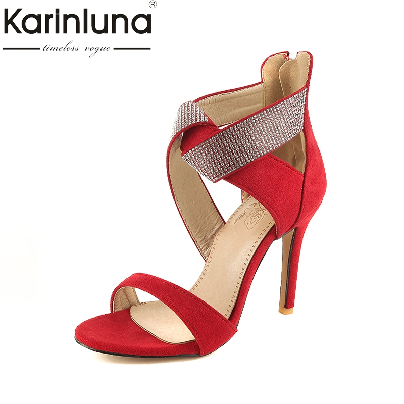 Karinluna 2018 Plus Size 32-46 Patchwork Gladiator Brand Shoes Summer Sandal Woman Sexy High Heels Party Sandals Women Shoes
