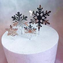 4pcs Buon Natale Acrilico Cake Topper Glitter Bianco Fiocco di Neve Cupcake Topper Per La Festa Di Natale Decorazioni Della Torta di Natale 2019