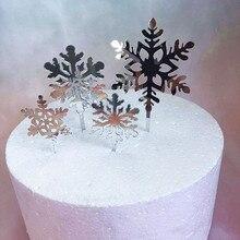 4pcs החג שמח אקריליק עוגת טופר גליטר לבן Snowflake Cupcake טופר מסיבת חג המולד עוגת קישוטי חג המולד 2019