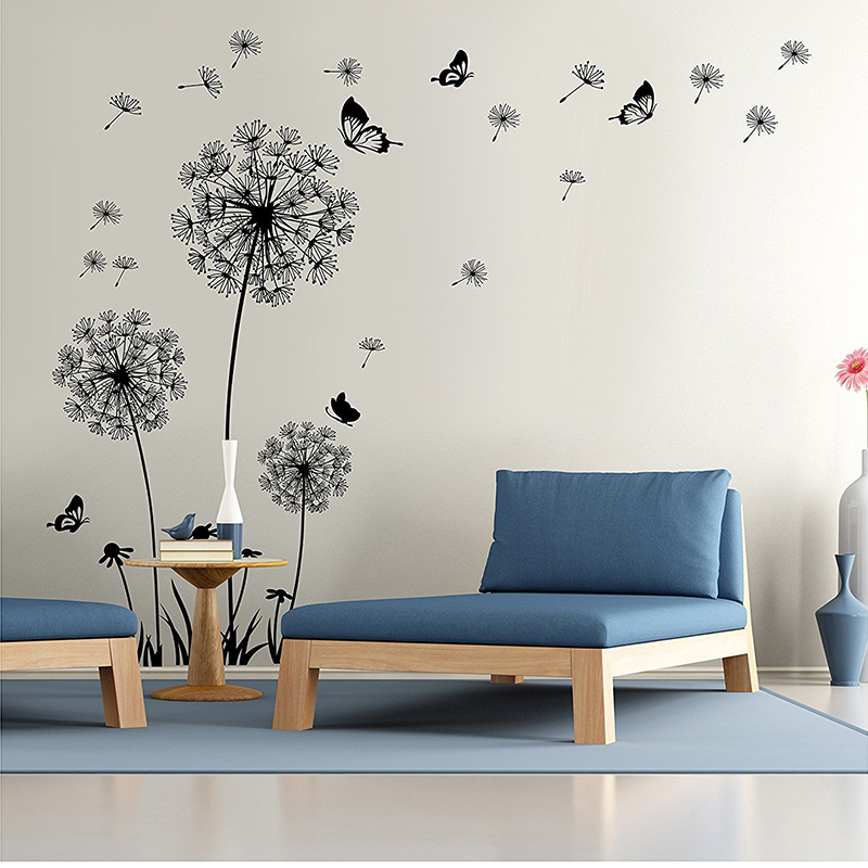 diy flying dandelion flower butterfly wall stickers living