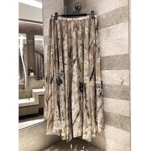 Womens Daisy Printed Mesh Pleated Skirt High Quality Cotton Gauze Silk Lining