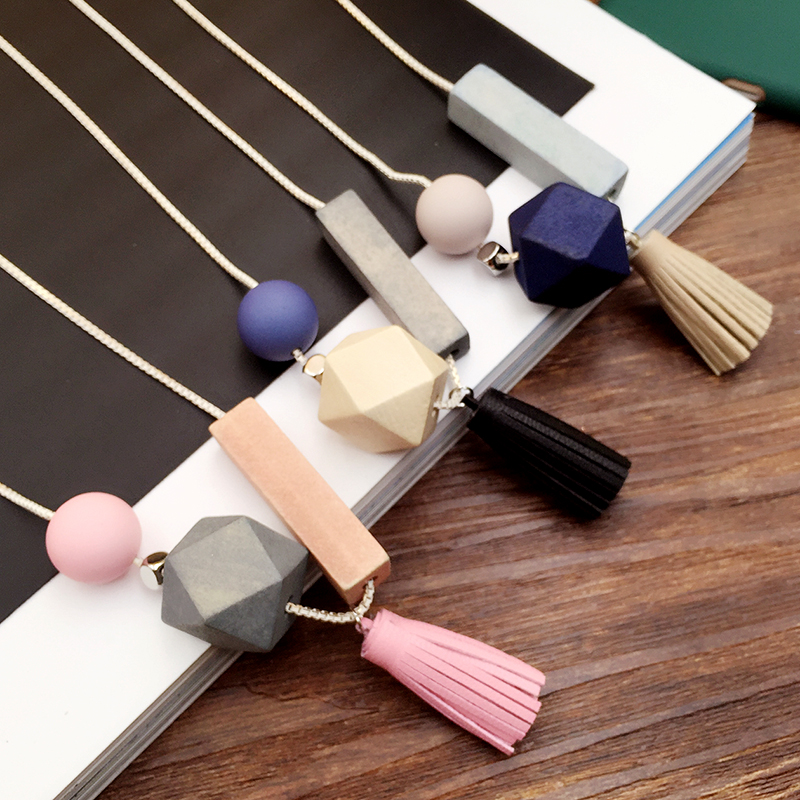 Long Wood all-match Bohemian Leisure Vintage Handmade Tassel Sweater Chain Necklace Geometric Female Accessories