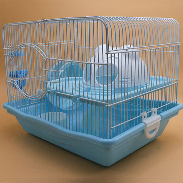 Small Animal 2 Floors Hamster Mouse Rat Cage Storey House Playground Feeder Water Bottle Silent Wheel Ladder Pet Toys