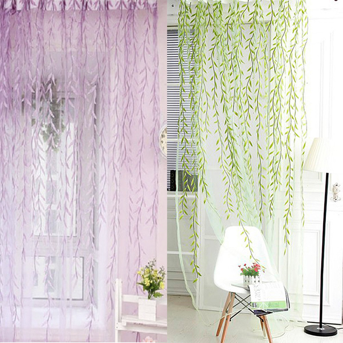 Lovely Wicker Tulle Voile Door Window Curtain For Living Room Drape Panel  Sheer Scarf Valances Beautiful Design In Curtains From Home U0026 Garden On ...