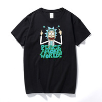 Cool Rick Morty Men T Shirts 2018 Summer Anime T Shirts Rick And Morty PEACE AMONG