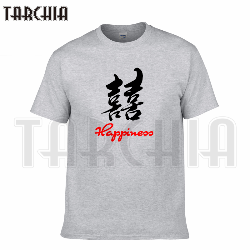 TARCHIA 2018 brand t-shirt Happiness characters cotton tops tees men short sleeve boy casual homme tshirt t plus fashion free