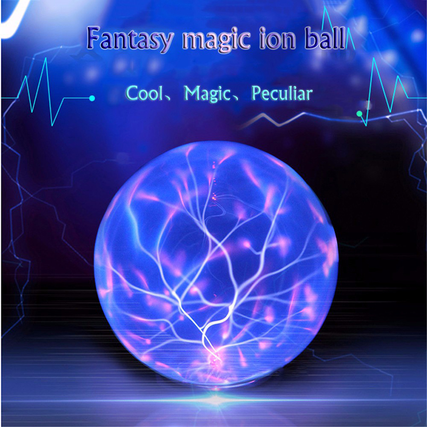 Sound Control Magic Glass Plasma Ball Light Crystal Ball Lamp Ion Sphere Lightning Atmosphere Lamps Novelty Night Diameter 20cm ac powered plasma ball red light lightning sphere 220v eu plug