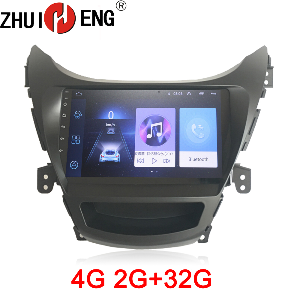 ZHUIHENG 2G+32G Android 8.1 Car radio stereo for Hyundai Elantra 2012 foreign car dvd player gps navi accessory 4G internet