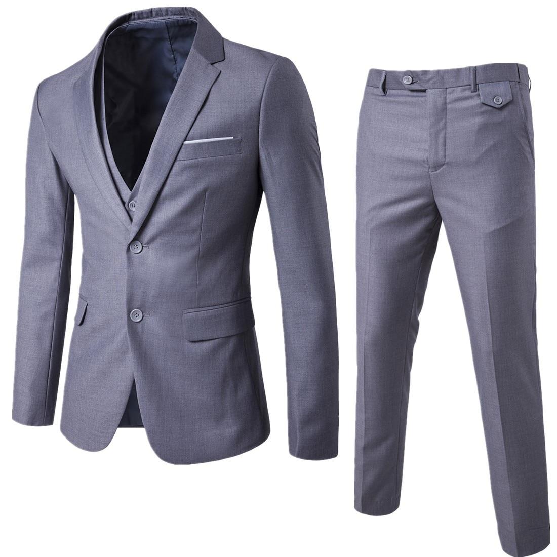 Пиджаки Штаны жилет комплект/2019 Для мужчин модные три Костюм из нескольких предметов комплекты/мужской деловой Повседневный пиджак, куртка...