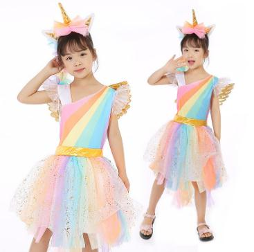 цена Bright Rainbow Girls Unicorn Bustle Dress with wing Baby Kids Party Dresses and headband Fancy Cartoon Children Cosplay Clothing