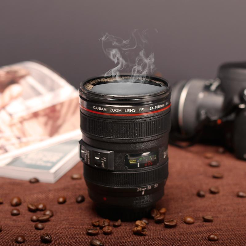 New Coffee Lens Emulation Camera Mug Cup Beer Cup Wine Cup Without Lid Black Plastic Cup&Caniam Logo 400-500ML Mug