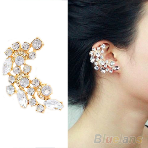 New Fashion Crescent Shape Rhinestone Right Ear Cuff Clip Golden Earring Stud 08u1 In Earrings From Jewelry Accessories On Aliexpress Alibaba