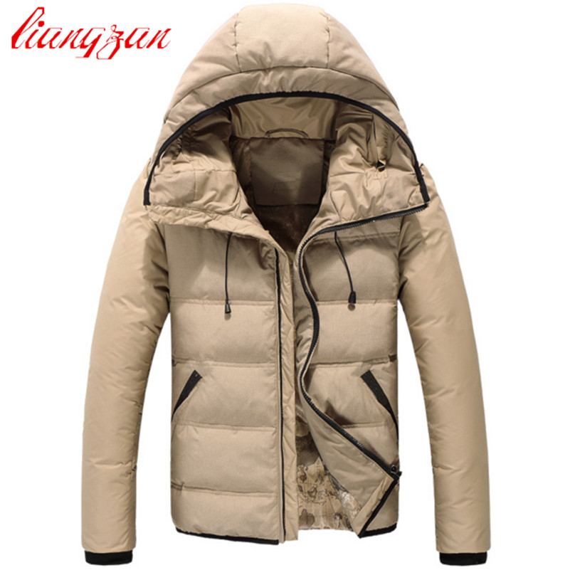 Men Down Coats Brand Design 90% White Duck Winter Warm Snow Thick Short Hooded Down Parkas Casual Fashion Overcoats F2354