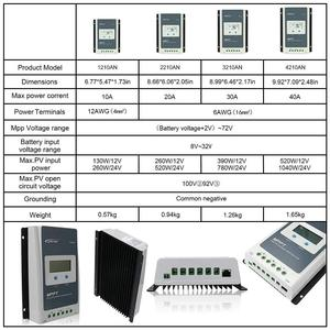 Image 3 - EPEVER 10A 20A 30A 40A MPPT שמש מטען Controller 12 V/24 V אוטומטי מרחוק מטר MT50 Fit עבור ליתיום סוללה שלילי קרקע LCD