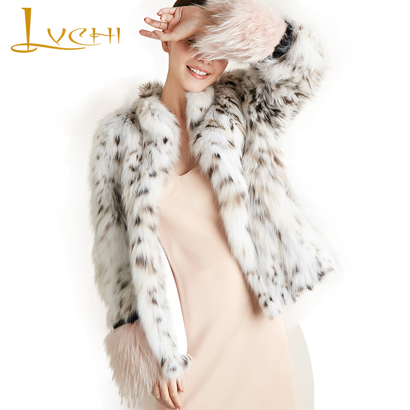 LVCHI Winter 2017 Milan Pure White Bobcats Fur Coats Womens Pink Sleeve Wild Bobcats Slim Short Mandarin Collar Bobcats Coats
