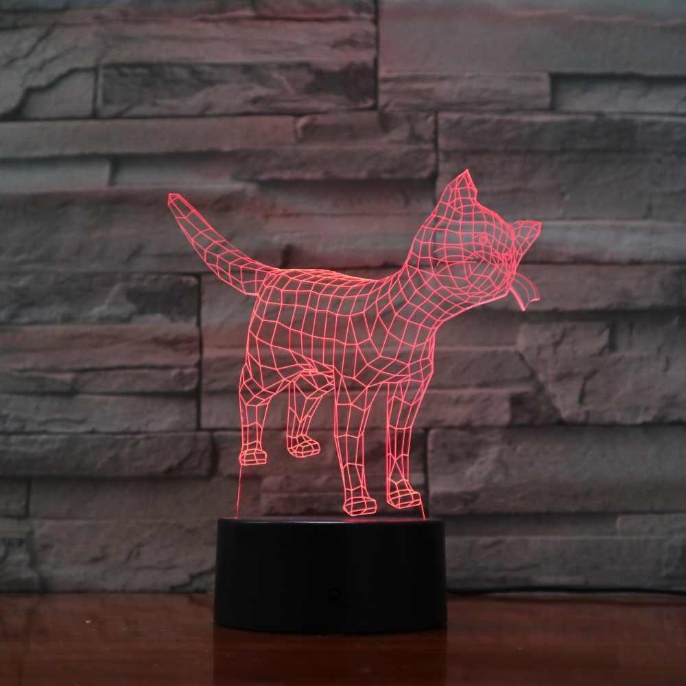 Сенсорный сенсор животное кошка 3D ночник с 7 цветов изменить Эффект Любовь Подарки для детей 3D-1172